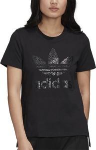Czarna bluzka Adidas z bawełny z okrągłym dekoltem z krótkim rękawem