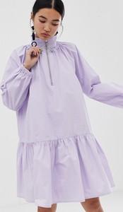 Fioletowa sukienka Asos z długim rękawem oversize mini