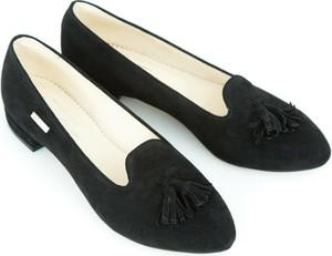 Czarne baleriny Zapato z płaską podeszwą w stylu glamour