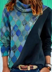 Niebieska bluzka Cikelly w stylu casual z długim rękawem