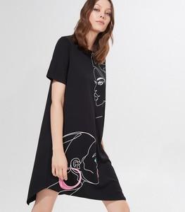 Czarna sukienka Mohito oversize z krótkim rękawem