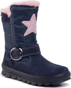 Niebieskie buty dziecięce zimowe Superfit z goretexu na zamek