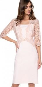Różowa sukienka L'AF z długim rękawem