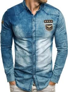 Niebieska koszula Ozonee z długim rękawem z bawełny