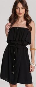 Czarna sukienka Renee bez rękawów mini rozkloszowana