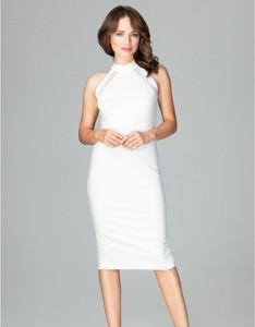 Sukienka LENITIF bez rękawów dopasowana z tkaniny