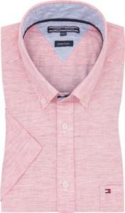 Różowa koszula Tommy Hilfiger z lnu z krótkim rękawem z kołnierzykiem button down