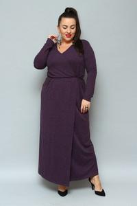 Fioletowa sukienka KARKO z dekoltem w kształcie litery v maxi