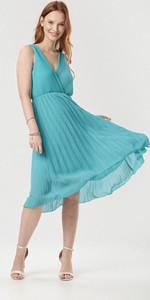 Zielona sukienka born2be midi bez rękawów z dekoltem w kształcie litery v