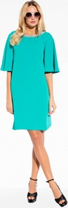 Zielona sukienka l'af w stylu klasycznym z krótkim rękawem do pracy