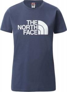 Niebieski t-shirt The North Face w młodzieżowym stylu z okrągłym dekoltem z krótkim rękawem