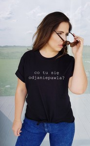 Czarny t-shirt Time For Fashion z okrągłym dekoltem w młodzieżowym stylu