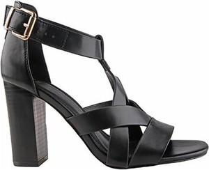 Czarne sandały Jenny Fairy na wysokim obcasie ze skóry