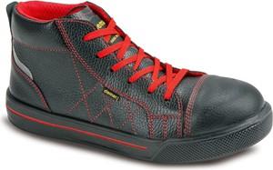 Czarne buty zimowe Demar sznurowane w sportowym stylu ze skóry