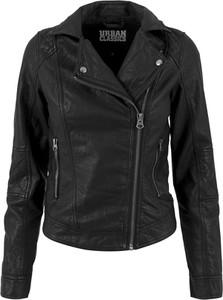 Czarna kurtka Urban Classics krótka w rockowym stylu