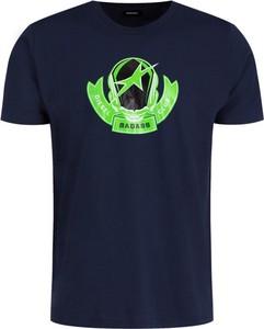 Granatowy t-shirt Diesel z krótkim rękawem