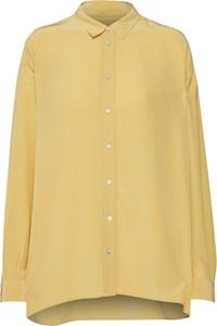 Żółta koszula Boss z kołnierzykiem z jedwabiu