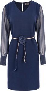 Niebieska sukienka ELEONORA PORTERA z szyfonu z długim rękawem mini
