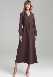 Sukienka Nife z długim rękawem maxi szmizjerka