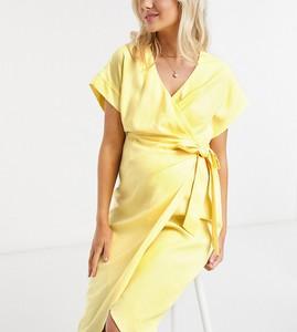 ASOS DESIGN Maternity – Żółta lniana kopertowa sukienka midi-Żółty