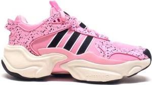 Różowe buty sportowe Adidas Originals ze skóry ekologicznej w sportowym stylu sznurowane