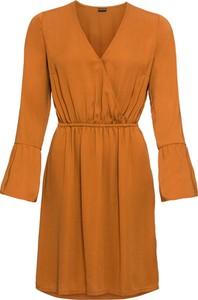 Brązowa sukienka bonprix BODYFLIRT midi z długim rękawem z dekoltem w kształcie litery v
