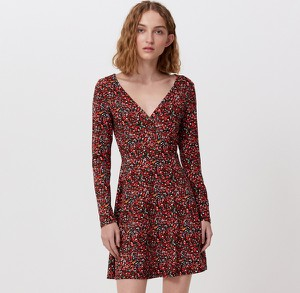 Czerwona sukienka Cropp z długim rękawem