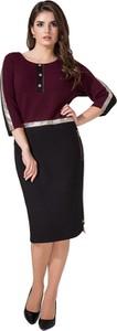 Sukienka Art Mio z tkaniny z długim rękawem midi