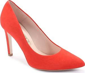 Czerwone szpilki Bravo w stylu klasycznym na wysokim obcasie ze skóry