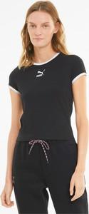 Czarny t-shirt Puma z bawełny z okrągłym dekoltem w sportowym stylu