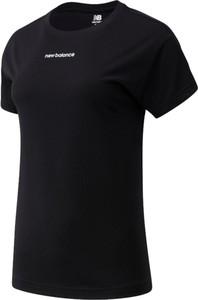 Czarny t-shirt New Balance w sportowym stylu z okrągłym dekoltem z krótkim rękawem