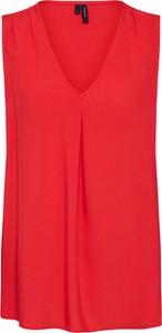Czerwona bluzka Vero Moda z dekoltem w kształcie litery v w stylu casual bez rękawów