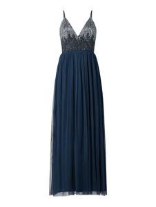 Granatowa sukienka Lace & Beads maxi z dekoltem w kształcie litery v na ramiączkach