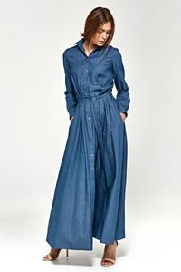 Sukienka Nife z kołnierzykiem koszulowa z długim rękawem