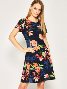 Sukienka DKNY z krótkim rękawem rozkloszowana mini
