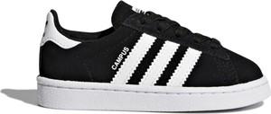 Czarne trampki dziecięce Adidas w paseczki z zamszu