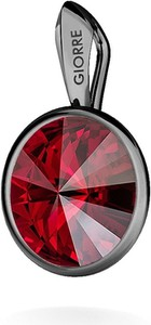 GIORRE SREBRNY WISIOREK SWAROVSKI RIVOLI 925 : Kolor kryształu SWAROVSKI - Siam, Kolor pokrycia srebra - Pokrycie Czarnym Rodem