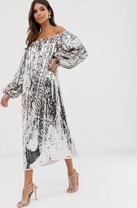Fioletowa sukienka Asos Edition oversize z długim rękawem maxi