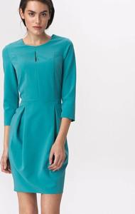 Niebieska sukienka Nife z długim rękawem z okrągłym dekoltem