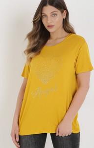 Żółty t-shirt born2be z krótkim rękawem z okrągłym dekoltem