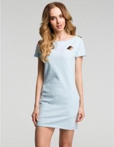Niebieska sukienka MOE z krótkim rękawem z dresówki