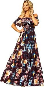 Sukienka NUMOCO z odkrytymi ramionami w stylu boho z krótkim rękawem