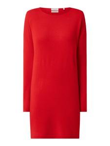 Czerwona sukienka Christian Berg z długim rękawem z okrągłym dekoltem z kaszmiru