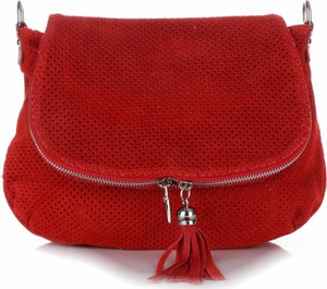 Czerwona torebka GENUINE LEATHER ze skóry średnia