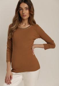 Brązowa bluzka Renee z okrągłym dekoltem z długim rękawem w stylu casual