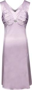 Fioletowa sukienka Fokus w stylu klasycznym rozkloszowana midi