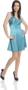 Niebieska sukienka Fokus z dekoltem w kształcie litery v z zamszu