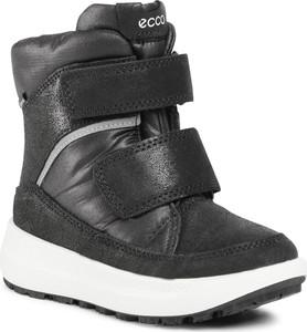 Czarne buty dziecięce zimowe eobuwie.pl na rzepy z goretexu