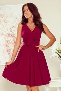 Czerwona sukienka NUMOCO z dekoltem w kształcie litery v rozkloszowana bez rękawów