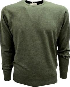Zielony sweter Cashmere Company z dżerseju z okrągłym dekoltem w stylu casual